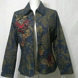 Chicos Embroidery Jacket Blazer Size 1 (S)